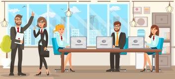 Illustrazione piana Team Discussion Lawyers di vettore illustrazione di stock