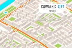 Illustrazione piana urbana di vettore di progettazione della città 3d del punto di riferimento del posto della città del programm illustrazione di stock