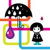 Illustrazione piovosa della ragazza Fotografia Stock Libera da Diritti