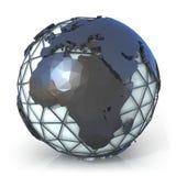 Illustrazione poligonale di stile del globo della terra, della vista dell'Africa e di Europa Immagine Stock