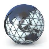 Illustrazione poligonale di stile del globo della terra, della vista di Oceania e dell'Asia Fotografia Stock