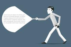 Illustrazione poligonale di vettore del carattere di sicurezza del fumetto della passeggiata dello spione della guardia giurata Fotografia Stock