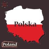 Illustrazione politica della mappa dello Stato membro della Polonia-UE, colorata nei colori della bandiera nazionale Progettazion Fotografia Stock Libera da Diritti