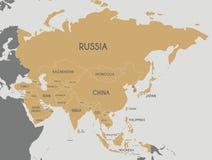 Illustrazione politica di vettore della mappa dell'Asia Editabile e chiaramente laboratorio Immagine Stock Libera da Diritti