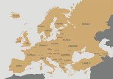 Illustrazione politica di vettore della mappa di Europa Fotografia Stock