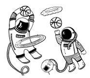 Illustrazione posteriore e bianca di vettore del fumetto con due asronauts che giocano pallacanestro nello spazio con l'anello de illustrazione vettoriale
