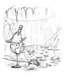illustrazione potabile divertente del fumetto del pinguino Immagini Stock Libere da Diritti