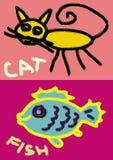 Illustrazione pratica dei pesci e del gatto Fotografie Stock Libere da Diritti
