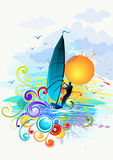 Illustrazione praticante il surfing del vento Immagini Stock Libere da Diritti
