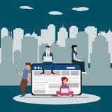 Illustrazione praticante il surfing di concetto del sito Web della rete sociale dei giovani che per mezzo degli aggeggi mobili qu Fotografia Stock