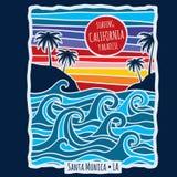 Illustrazione praticante il surfing di vettore di progettazione della stampa della maglietta di California di estate d'annata illustrazione di stock