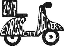 Illustrazione precisa di vettore di consegna di città del motorino Icona per servizio di distribuzione Illustrazione piana nera m Fotografia Stock Libera da Diritti