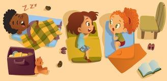 Illustrazione prescolare di vettore del bambino di tempo di sonno Ora di andare a letto multirazziale dei bambini di asilo, gossi royalty illustrazione gratis