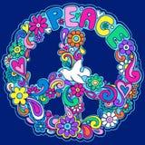 Illustrazione psichedelica di vettore del segno di pace Fotografia Stock Libera da Diritti