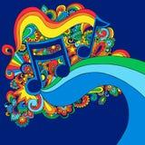 Illustrazione psichedelica di vettore della nota di musica Fotografia Stock