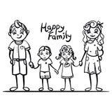 Illustrazione puerile di cartoo di stile di una famiglia, di una madre, di un padre, di un figlio e di una figlia Fotografia Stock