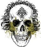 Illustrazione punk tribale cattiva del cranio Fotografie Stock