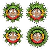 Illustrazione rastafarian sorridente felice del tipo della marijuana della cannabis Immagini Stock Libere da Diritti