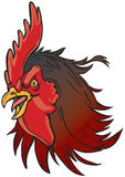 Illustrazione realistica arrabbiata della testa della mascotte del gallo Immagini Stock Libere da Diritti