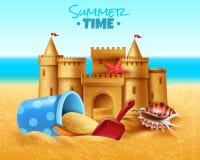 Illustrazione realistica del castello della sabbia illustrazione vettoriale