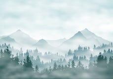 Illustrazione realistica delle siluette del paesaggio della montagna con la foresta e le conifere Annebbi la foschia o le nuvole  illustrazione di stock