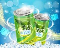 Illustrazione realistica di ghiaccio del tè di vettore verde di pubblicità Fotografia Stock Libera da Diritti