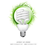 Illustrazione realistica di una lampadina di economia Immagini Stock