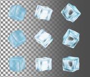 Illustrazione realistica di vettore stabilito dell'icona del cubetto di ghiaccio illustrazione vettoriale