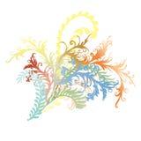 Illustrazione riccia decorata delle viti e delle foglie del fiore Fotografie Stock Libere da Diritti