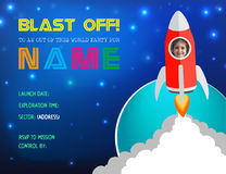 Illustrazione Rocket Birthday Party Card Invitation di vettore Fotografie Stock
