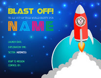 Illustrazione Rocket Birthday Party Card Invitation di vettore Immagine Stock Libera da Diritti