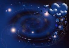Illustrazione romantica dei cuori blu Fotografia Stock Libera da Diritti