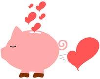 Illustrazione romantica di concetto della banca di amore di porcellino del fumetto Immagine Stock Libera da Diritti