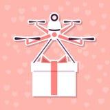 Illustrazione romantica di vettore con quadcopter con il contenitore di regalo Fotografia Stock Libera da Diritti
