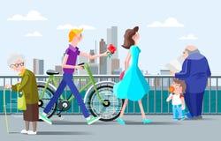 Illustrazione romantica per una riunione sul lungomare nella città Immagine Stock