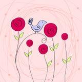 Illustrazione romantica sveglia con l'uccello e le rose Fotografia Stock Libera da Diritti