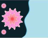 Illustrazione rosa di vettore del fiore di loto 3D sui blu navy scuri al fondo degli azzurri illustrazione di stock