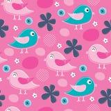 Illustrazione rosa senza cuciture di vettore del modello dell'uccello Immagine Stock Libera da Diritti