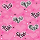 Illustrazione rosa senza cuciture di vettore del modello della zebra del leopardo Fotografie Stock