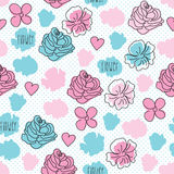 Illustrazione rosa senza cuciture di vettore del modello di fiore Immagine Stock