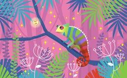 Illustrazione rosa variopinta con la lucertola del camaleonte che si siede su un ramo in giungla tropicale Circondato dalle piant fotografie stock