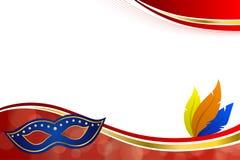 Illustrazione rossa astratta della struttura dell'oro delle piume della maschera del partito di carnevale del fondo illustrazione vettoriale