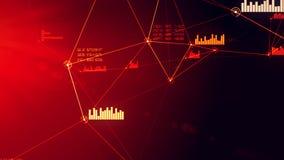 Illustrazione rossa astratta futuristica di griglia della connessione dati e della rete fotografia stock