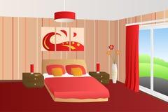 Illustrazione rossa beige della finestra delle lampade dei cuscini di letto della camera da letto interna moderna Immagine Stock