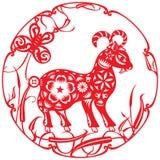 Illustrazione rossa cinese delle pecore di fortuna Fotografie Stock Libere da Diritti