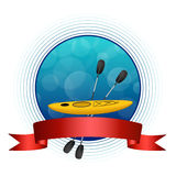 Illustrazione rossa del cerchio della struttura del nastro del kajak del fondo di sport del cerchio blu astratto di giallo Fotografia Stock