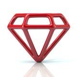 Illustrazione rossa dell'icona 3d della gemma illustrazione vettoriale