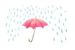 Illustrazione rossa dell'ombrello Fotografia Stock Libera da Diritti