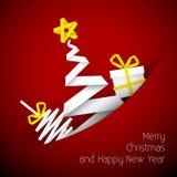 Illustrazione rossa della cartolina di Natale di vettore semplice Fotografia Stock