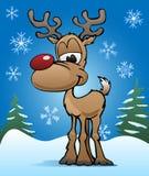 Illustrazione rossa della renna del naso di festa sveglia di Natale Fotografia Stock